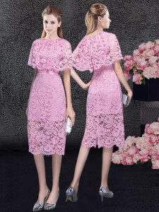 Customized Scoop Lace Pageant Dresses Pink Zipper Half Sleeves Knee Length
