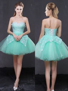 Custom Design Apple Green A-line Organza Sweetheart Sleeveless Lace and Appliques Mini Length Lace Up Pageant Dress Wholesale