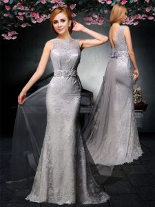 Dynamic Sleeveless With Train Lace and Belt Backless Pageant Dress for Teens with Grey Watteau Train