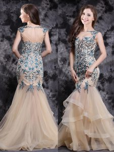 With Train Mermaid Sleeveless Champagne Pageant Dress for Teens Brush Train Zipper