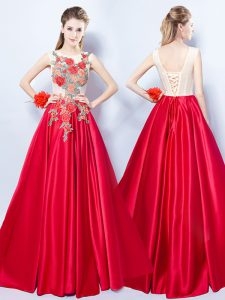 Dynamic Scoop Floor Length Lace Up Evening Gowns Red for Prom with Appliques