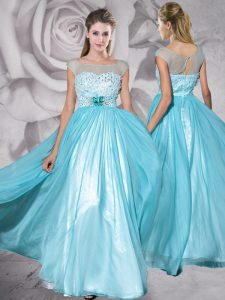 Cap Sleeves Floor Length Zipper Pageant Dress for Girls Aqua Blue for Prom with Beading and Appliques
