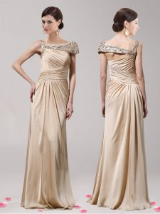 Champagne Elastic Woven Satin Side Zipper Asymmetric Sleeveless Floor Length Pageant Dress Womens Beading