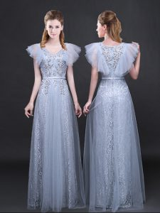 New Style V-neck Short Sleeves Tulle and Lace Glitz Pageant Dress Appliques and Belt Zipper
