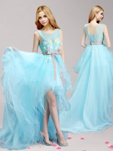 Ideal Scoop Aqua Blue Tulle Lace Up Pageant Dress Toddler Sleeveless High Low Appliques and Bowknot