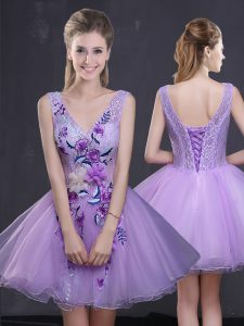 Modest Mini Length Lavender Pageant Dress for Womens Sleeveless Lace Up