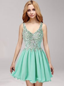 Modest Apple Green Chiffon Side Zipper Straps Sleeveless Mini Length Pageant Dress for Girls Beading and Ruffles