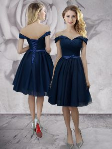 Navy Blue Off The Shoulder Lace Up Bowknot Pageant Dress Womens Sleeveless