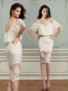 Off the Shoulder Champagne Short Sleeves Chiffon and Lace Backless Evening Gowns for Prom