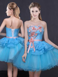 Strapless Sleeveless Tulle Glitz Pageant Dress Hand Made Flower Lace Up