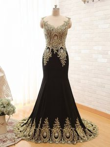 Hot Sale Black Scoop Neckline Beading and Appliques Pageant Dress Womens Sleeveless Side Zipper