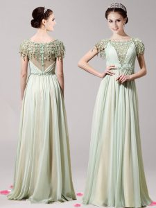 New Style Scoop Short Sleeves Floor Length Zipper Pageant Dress for Womens Apple Green for Prom with Appliques