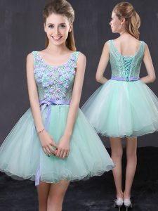 Eye-catching Scoop Apple Green Lace Up Glitz Pageant Dress Lace and Hand Made Flower Sleeveless Mini Length