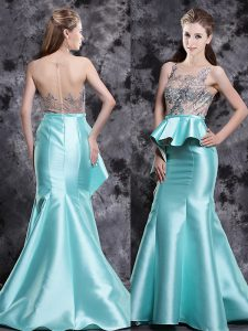 Captivating Mermaid Scoop Sleeveless Brush Train Zipper Appliques Pageant Dress Womens