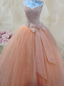 Unique Tulle Spaghetti Straps Sleeveless Lace Up Beading and Bowknot Pageant Dress Wholesale in Peach