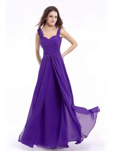 Suitable Straps Purple Sleeveless Chiffon Zipper Pageant Dress for Womens for Prom