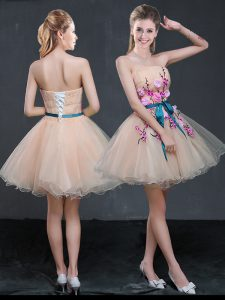 Peach Sleeveless Mini Length Appliques and Belt Lace Up Pageant Dress for Girls