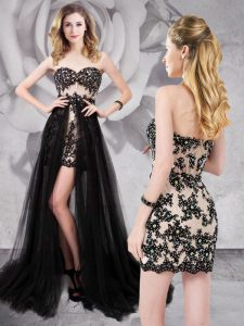 Black Sweetheart Zipper Beading and Appliques Pageant Dress for Teens Brush Train Sleeveless