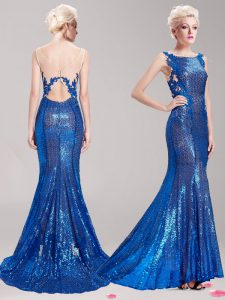 Cheap Mermaid Sequins With Train Blue Pageant Dress Square Sleeveless Brush Train Clasp Handle