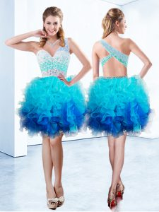 Organza One Shoulder Sleeveless Criss Cross Beading and Ruffles Pageant Gowns in Aqua Blue