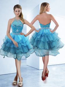 Fitting Halter Top Tea Length Baby Blue Pageant Dress Wholesale Organza Sleeveless Beading and Ruffled Layers