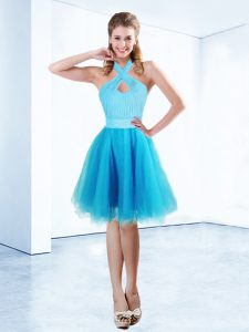 Custom Design Aqua Blue Pageant Dress Toddler Prom and Party with Ruching and Belt Halter Top Sleeveless Zipper