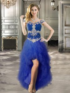 A-line Pageant Dress Toddler Royal Blue Off The Shoulder Tulle Cap Sleeves High Low Lace Up