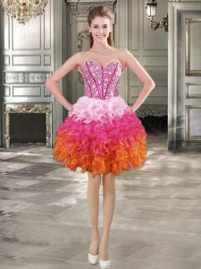 Multi-color Ball Gowns Sweetheart Sleeveless Organza Mini Length Lace Up Beading and Ruffles Winning Pageant Gowns