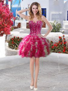 Cheap Fuchsia Ball Gowns Organza Sweetheart Sleeveless Beading and Ruffles Lace Up Pageant Dress