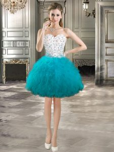 Affordable Sleeveless Tulle Mini Length Lace Up Pageant Dress Toddler in Teal with Beading and Ruffles